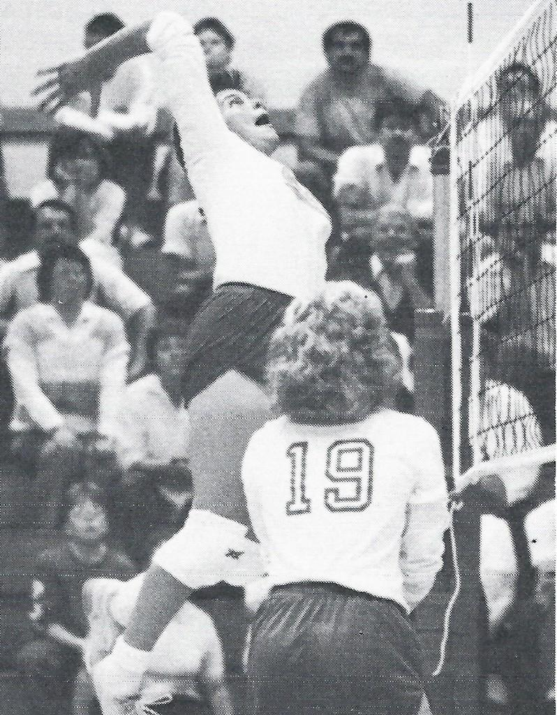 Theresa Bream sets up for a hit during her 1987 season with the Carlisle Lady Herd.
