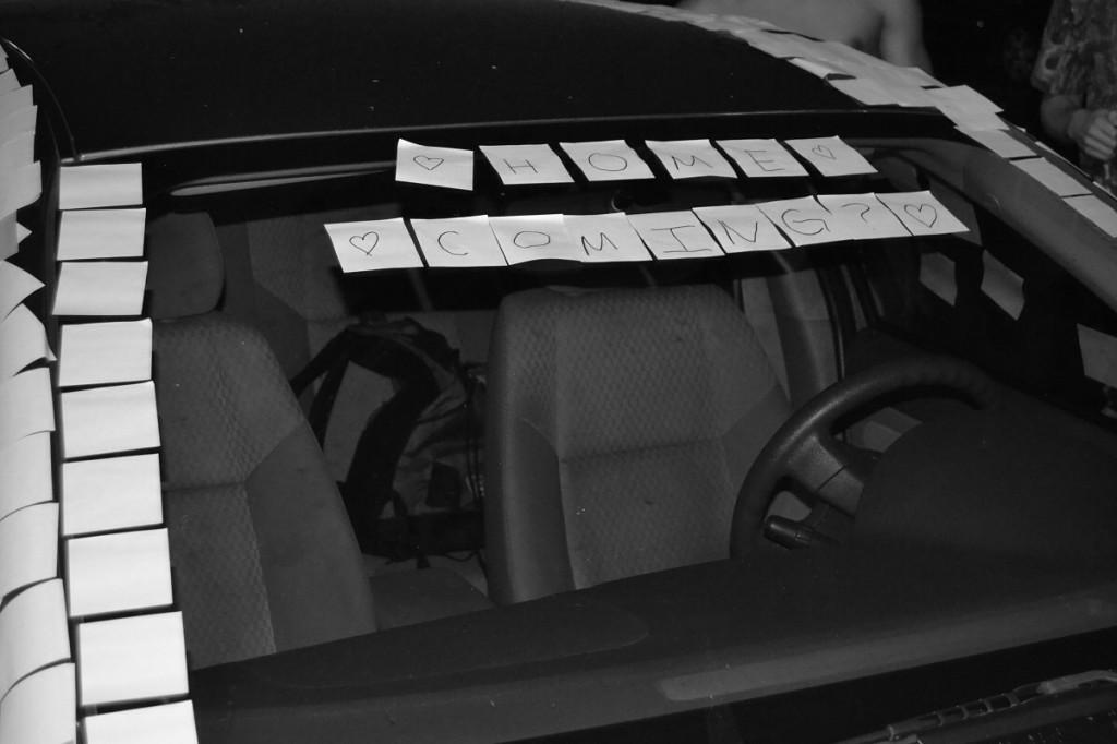 Junior Josh Winton used 2300 sticky notes to ask junior Rene Morrow to Homecoming.