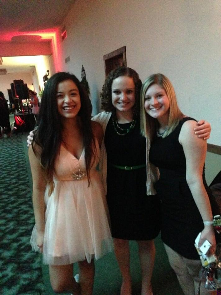 Clara Cozort, Dannah Rolar, and Ms. Keller posed for a picture at Winterball.  Keller said she liked the music at this year's dance.