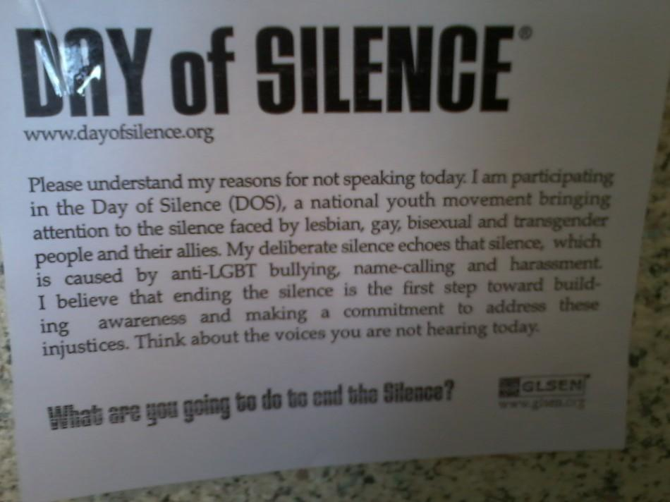 Day of Silence posters have been hung up around CHS to raise awareness for the event itself.