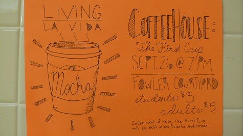 The Coffeehouse will take place on September 26th at the Fowler Courtyard at 7 p.m.