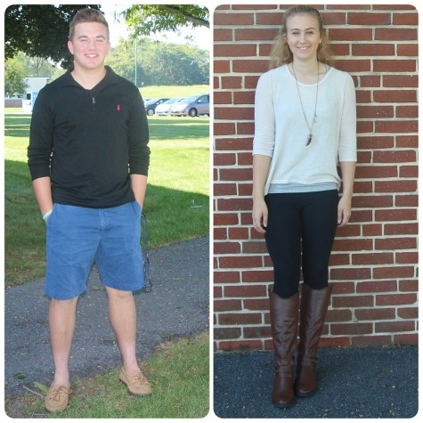 Connor Murphy and Kaitlin Radle show off their fashionably forward attire.