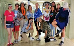 Students pose for the camera in their best Tacky Tourist outfits.