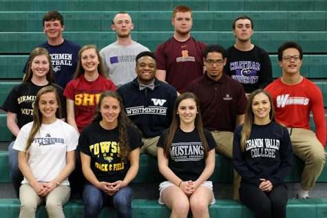 13 seniors made athletic commitments to their future schools on April 13.