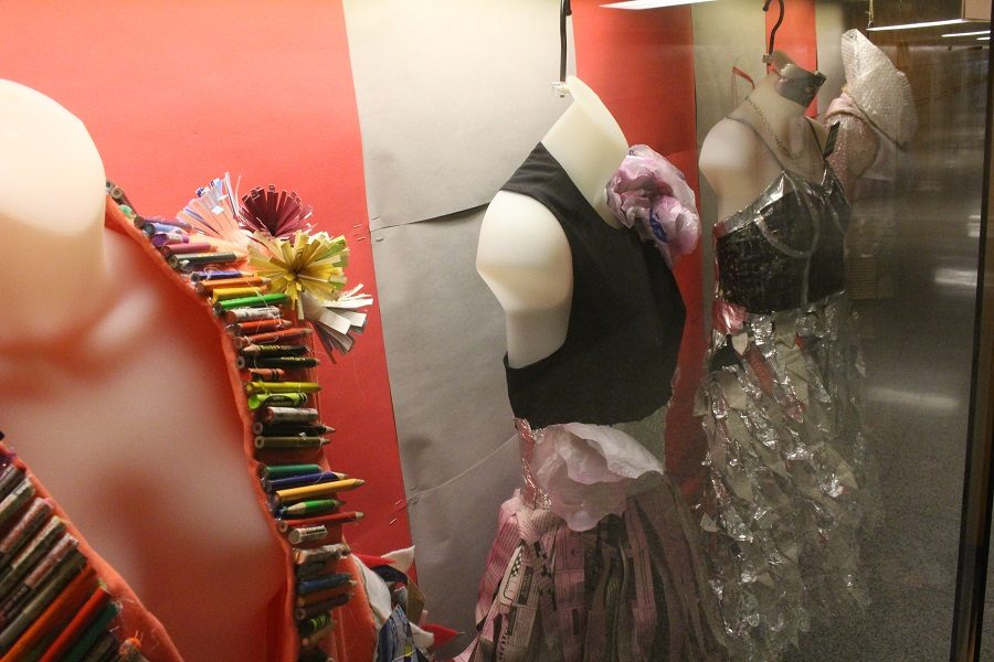 By using creativity, some CHS students were able to design dresses from used items.  Dresses like these would work well for homecoming and other school dances.
