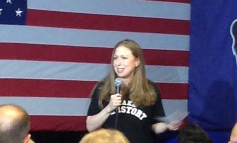 Chelsea Clinton addresses the crowd at the rally.
