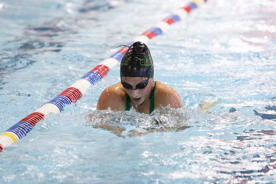 Elizabeth Young competes in breaststroke during a meet last season.