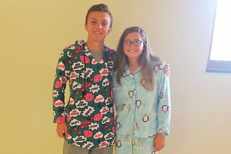 Seniors Alex Henry and Emily Reisinger actively participates in the first spirit day of the year, I Hate Mondays.