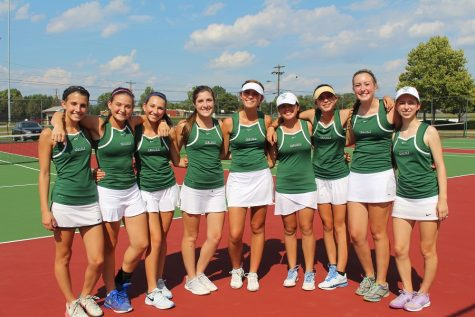 Celebrating victory: The girls tennis team made it to team districts