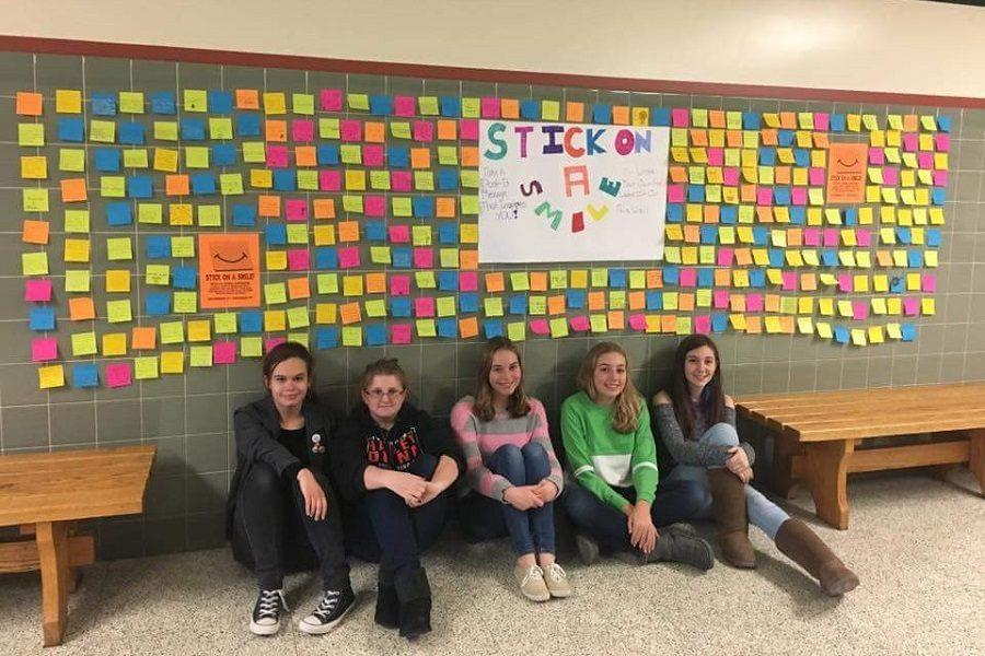 Pictured above are (left to right) Samantha Martin, Ashlyn Davis, Jessalyn Morrow, Arianna Line, and Rita Veneziale sitting below their budding project.