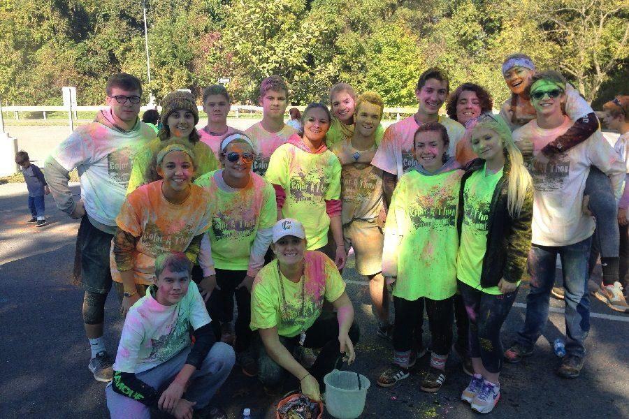 Members of this year's Senior Class Council volunteered last year at the Color Run.