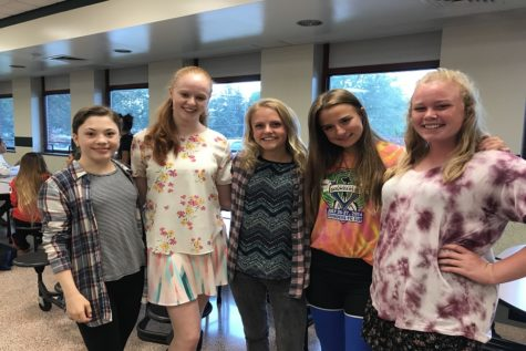 Sophomores Madeline Thorndike, Kensington MacMillen, Sophia Toti, Emily Evers, and Audrey Barefield show off their wild outfits. Many students planned matching outfits with their friends.
