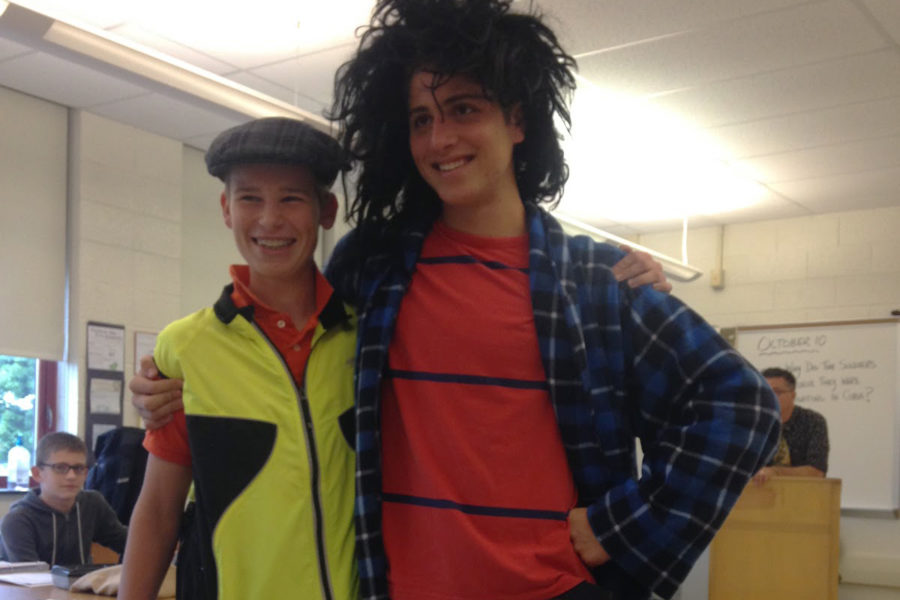 Freshmen Bennett Solomon and Ben Madio get into the spirit with crazy patterns and hair. The freshmen were exited to participate in their first spirit week.