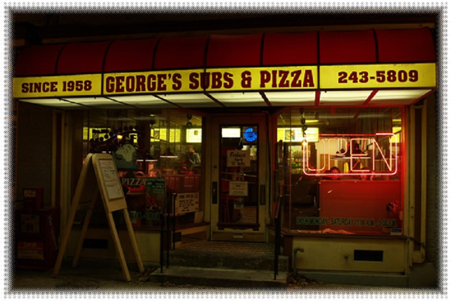 The picture is of George's Pizza place.  It's the oldest pizza shop in Carlisle.