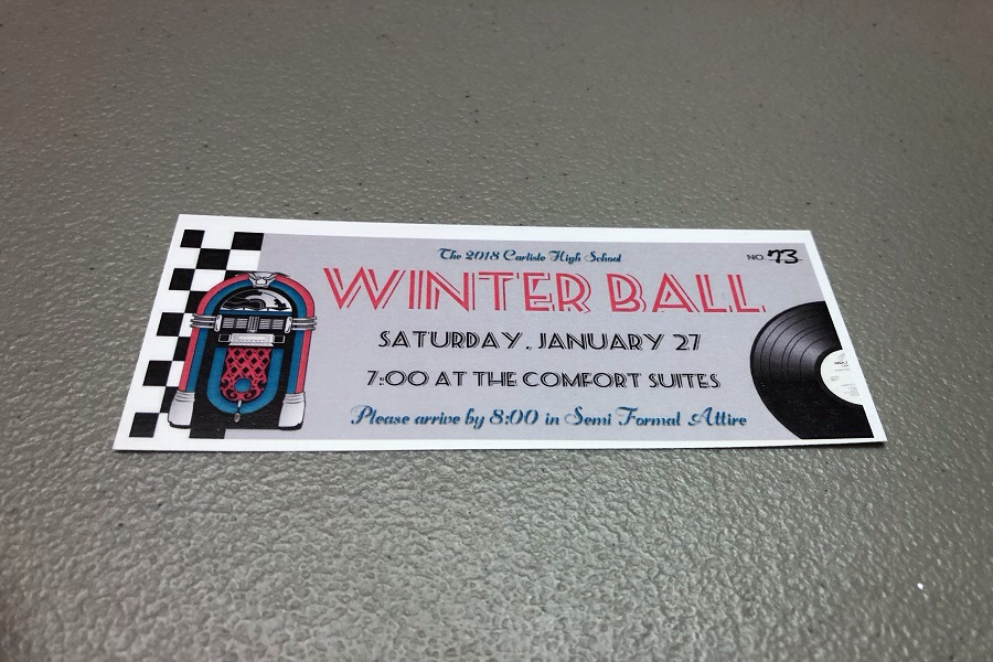 A ticket to this year's Winterball. The theme of the dance is 1950's diner.