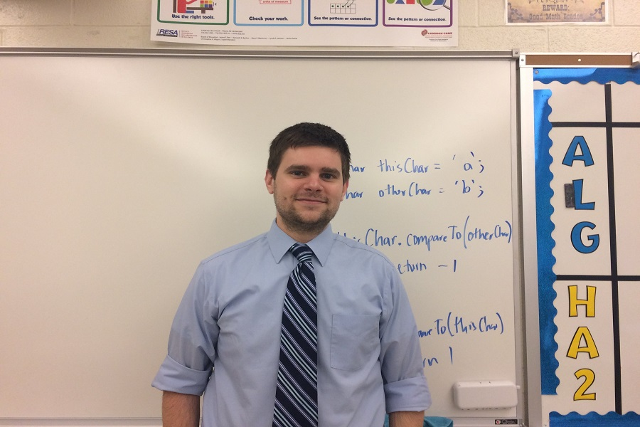 Jeffrey McMahon stands in his classroom in Swartz. He is the first teacher at CHS to teach AP Computer Science.