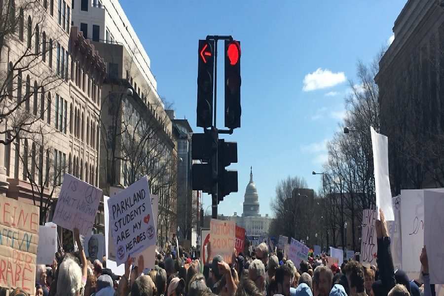 People gathered from many placers in Washington DC to show support. Many carried signs and posters.