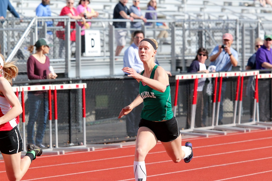Senior Abby Walters participates in a track meet during the 2017 season.  Walters is one of the captains this year.