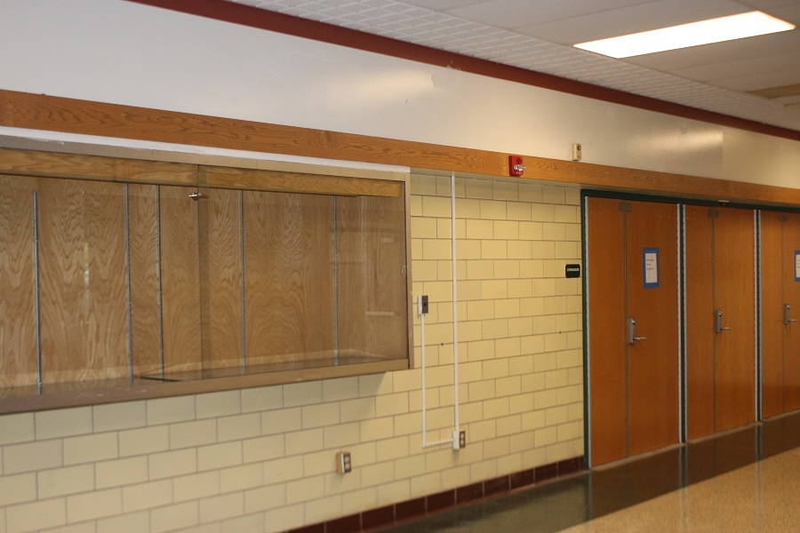 The McGowan gym trophy cases have been emptied due to the renovations.  The new gym is set to open in fall of 2018.
