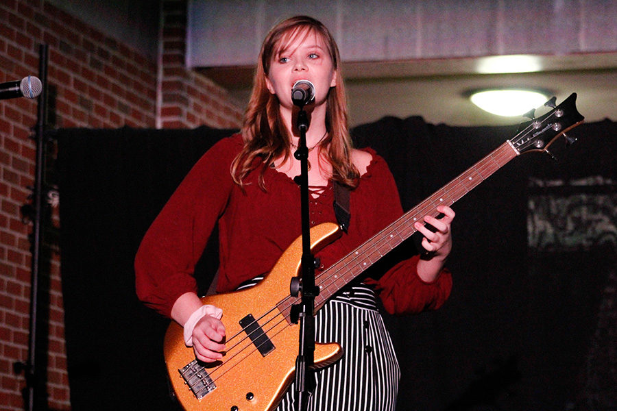Reese+Daughterty+plays+with+her+band%2C+Virago.+Virago+was+one+of+the+groups+that+performed+in+Coffeehouse%3A+the+First+Cup.
