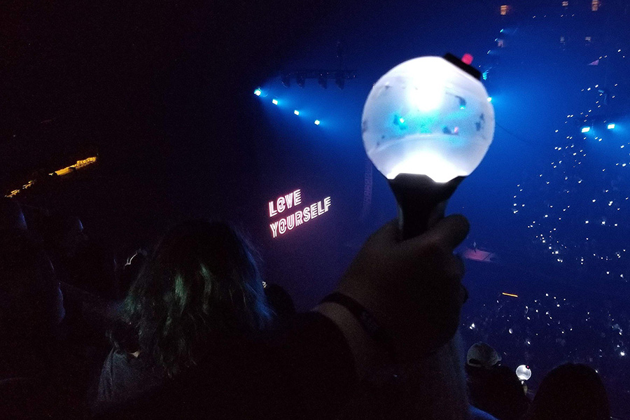 Light sticks are a unique feature that are used during BTS's concerts.  BTS's popularity has been growing all over the world, as they continue spreading a positive message in their music.