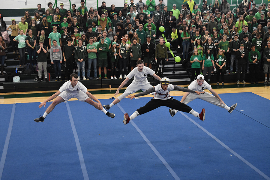 Four Carlisle High School seniors showed their school spirit during the grade level dance-off.