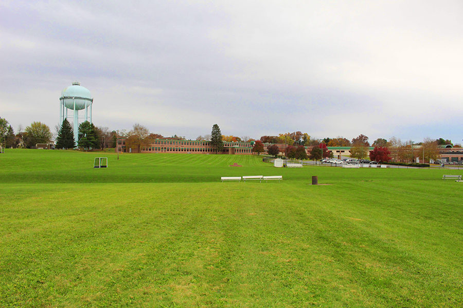 A photo taken from the football practice field looking towards the field hockey field, located next to the CHS stadium.  The CHS field hockey team is one of the most impacted teams by the turf situation.