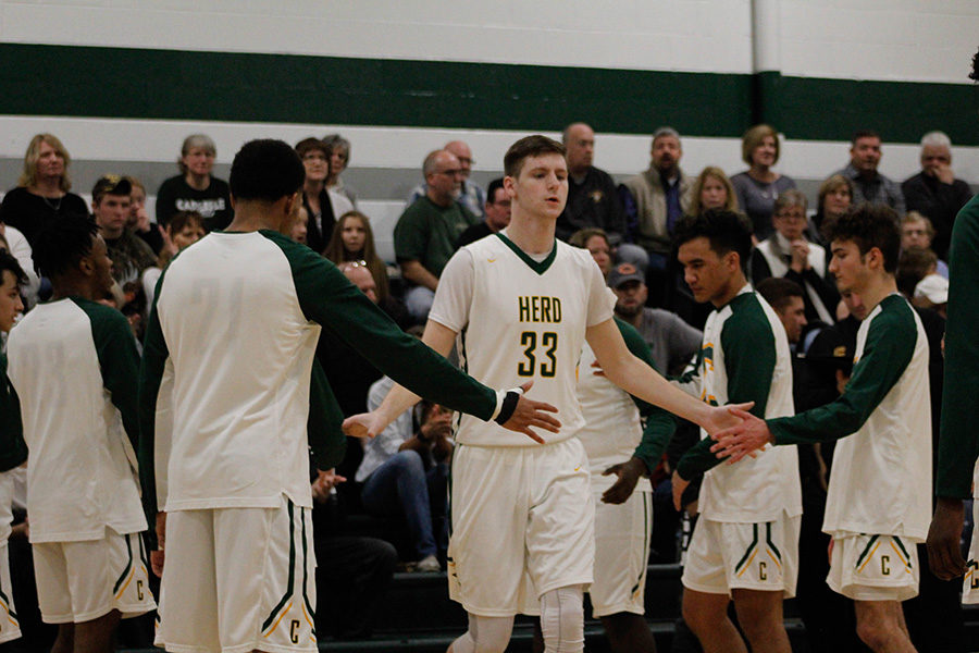 Warm-Up: #33 Varsity Trevor Hamilton gets called out before the game starts, ready to beat Cumberland Valley.