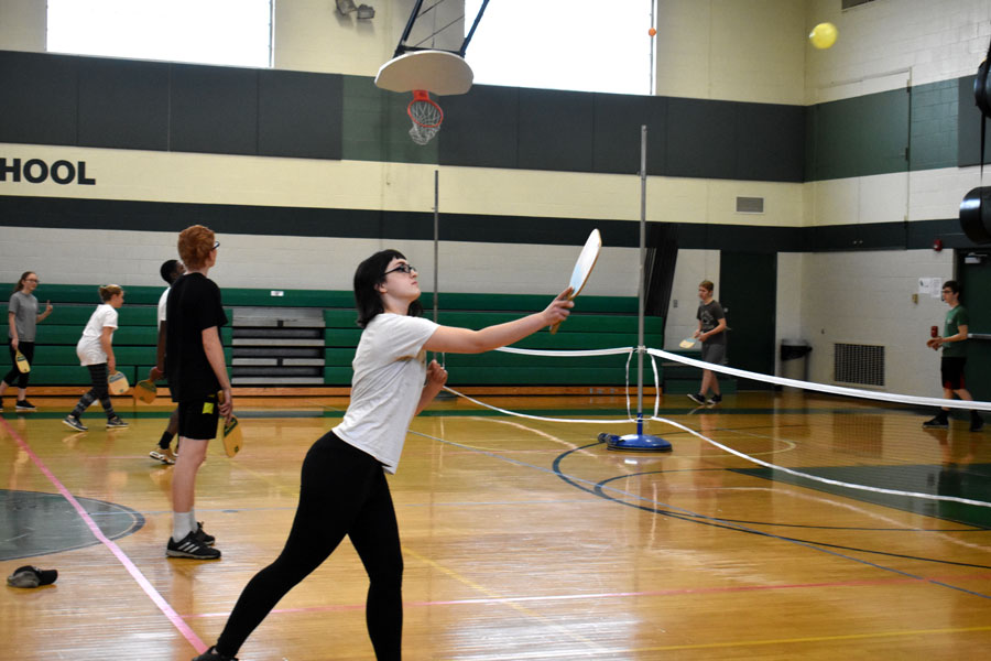 Emily Nankee returns the ball in a game of Pickle ball in Physical Education.  Physical Education is an important class for all students in high school, regardless of gender.