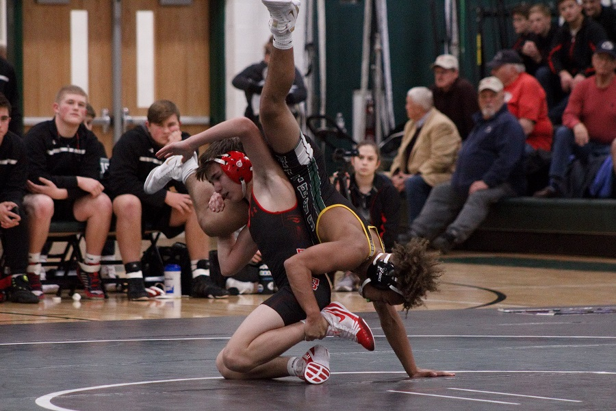 Trentin Walker competes against Cumberland Valley on Dec 12.  Walker is one of the freshmen competing on the varsity team.
