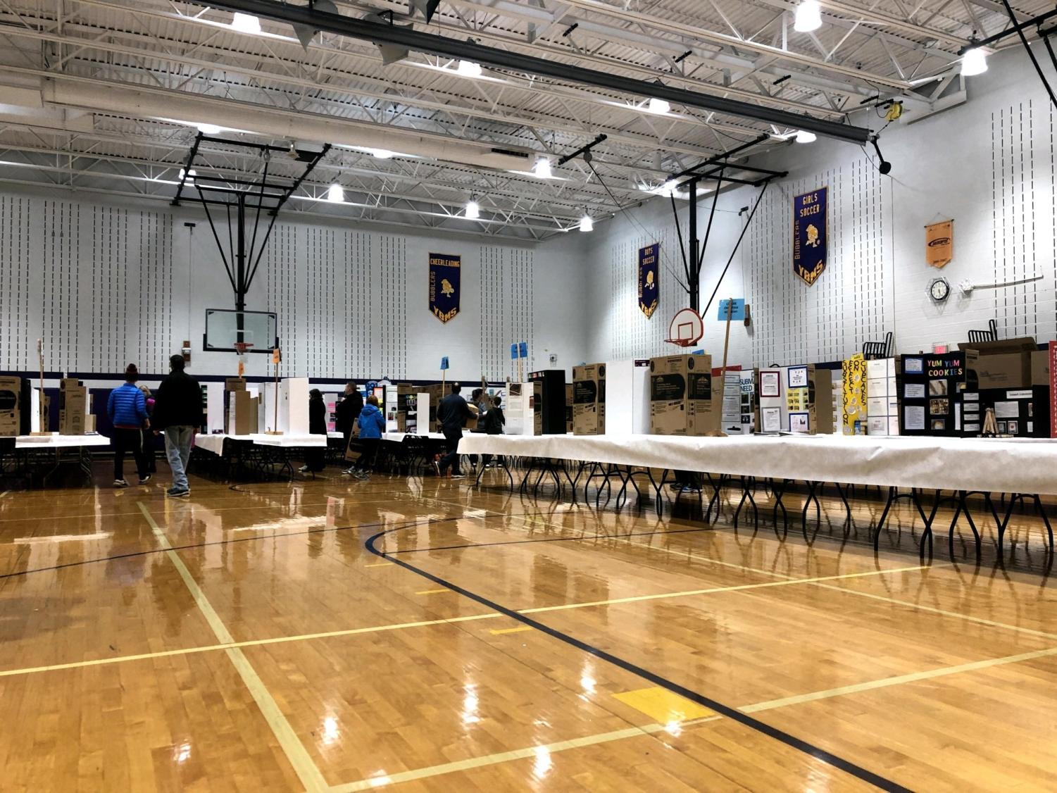 Science Fair projects sit in the gym at Yellow Bridges Middle School prior to judging. The fair took place over two days at Yellow Bridges Middle School.
