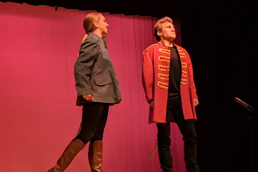 Sophomore Olivia Renault and junior Max Haseman perform in a scene from William Shakespeare's play,