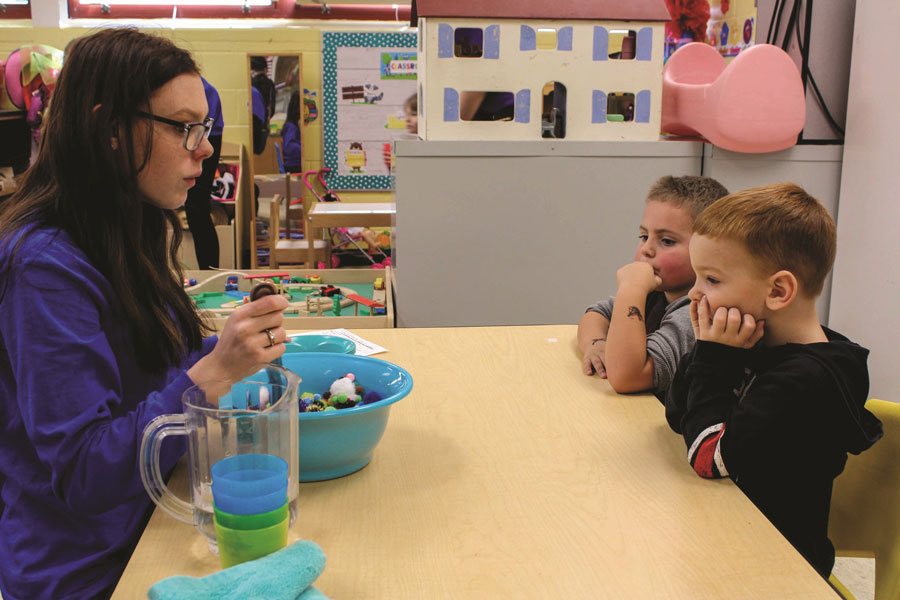 Senior Tessa Paulus teaches little kids in the Early Childhood Development Program. This program has a history of only having female students enrolled, despite the need for male teachers in the field of education.