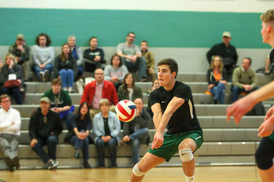 Sam Candland prepares to bump the ball during a match.  Candland is our athlete of the month for March as he prepares to begin his senior campaign on Monday.