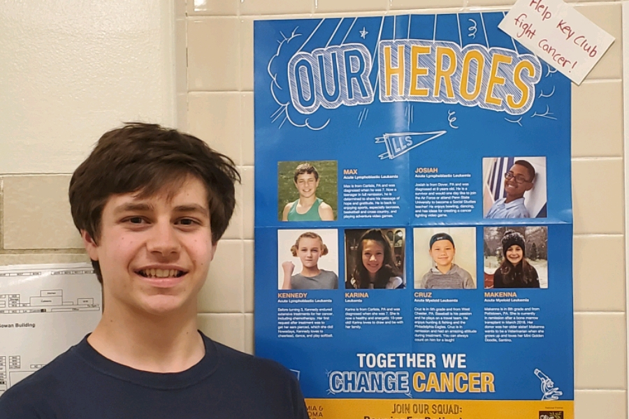 Max Marra poses beside the Our Heroes sign. Cancer is a continuous battle many have dealt with in our community, including Marra.