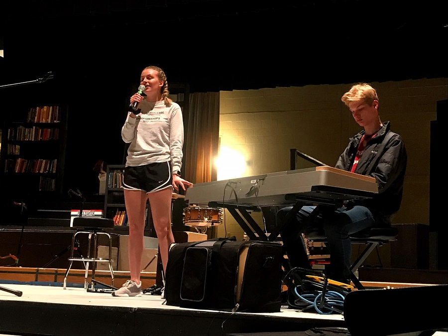 Ashlynn Ashmore, left, and Luke Sheffe audition for the Last Drop. The two will perform together in May, in addition to their other groups.