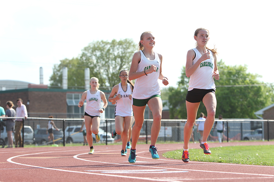 Sophie Salomone leads the Herd in a distance race during the 2018 season. Salomone joined the track team back in middle school to make friends and go outside of her comfort zone.