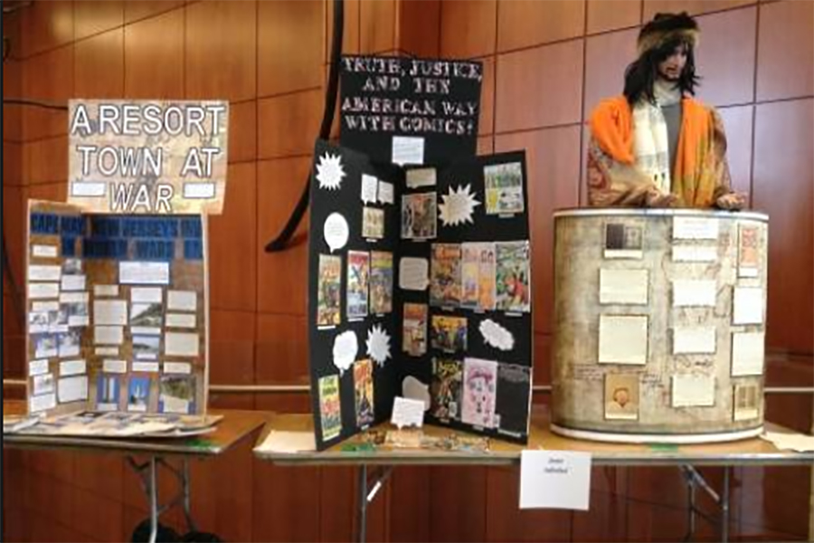 Two exhibits are displayed at the Regional History Day competition.