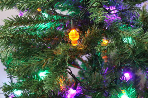 The holidays are starting to blend together, as demonstrated by the spider lights on the Christmas tree.  Are we rushing the holiday season?