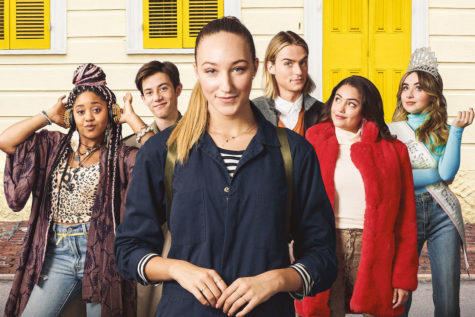 "A promotional photo from the movie ""Tall Girl."" The film, with its strong ensemble cast and positive messages of self-acceptance, is both enjoyable and touching."