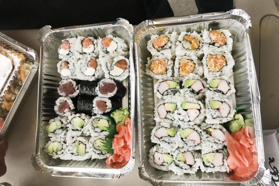 Many customers love Mt. Fuji for their special on sushi rolls.  Pictured here are Philly rolls (tuna and cream cheese), tuna rolls, California rolls (avocado and crab), spicy tuna roll, and vegetarian rolls.