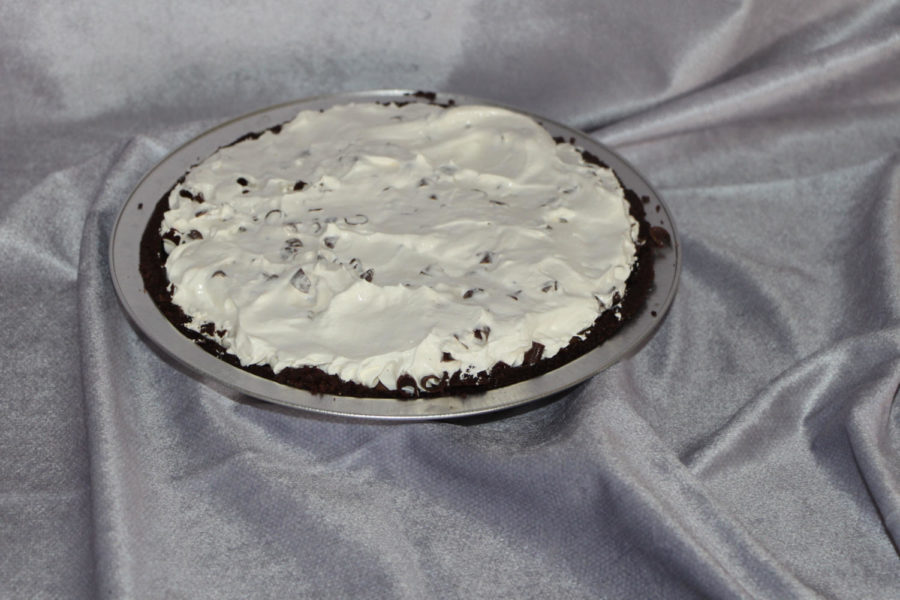 This is a chocolate whipped pie with a chocolate graham cracker crust from Kimberly's Café in Carlisle, PA. It also has chocolate shavings on top to add to the chocolate taste.