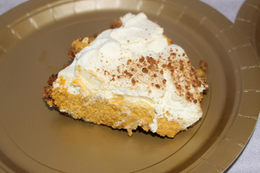 This pumpkin mousse pie from Pie Haus has great texture. The light mousse flavored with pumpkin and other spices taste better than you think. The topping is out of this world. There is also a spiced topping on the top layer.