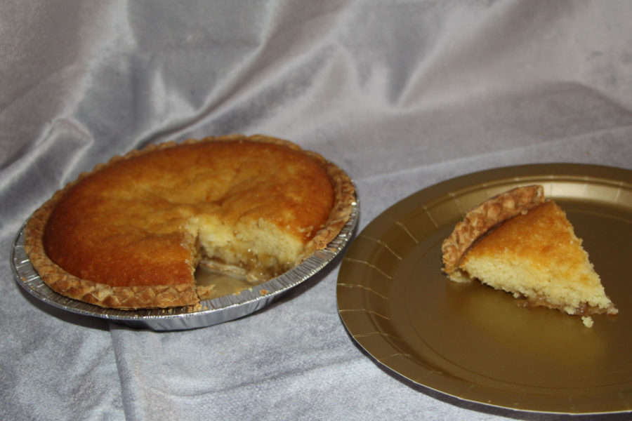This is a Montgomery pie from Beeman's Bakery in Carlisle, PA. Traditionally, this pie is made with a a light tasting crust and a molasses and lemon filling at the bottom, topped with a buttermilk cake.