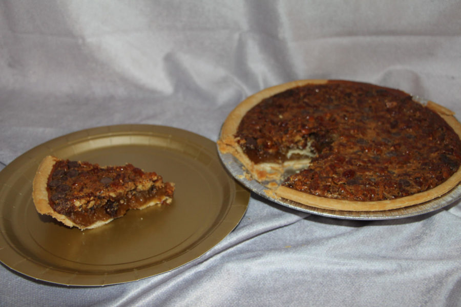 This pie is a chocolate pecan pie from Cracker Barrel in Carlisle, PA. This pie has caramel on the bottom which adds to the flavor. The pecans are a nice combination with the chocolate on top.