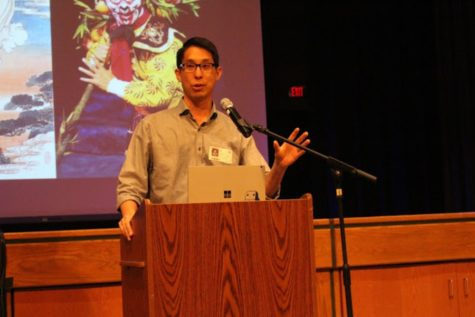 Gene Luen Yang addresses the entire ninth grade class November 4. Ninth grade students at CHS are required to read Yang