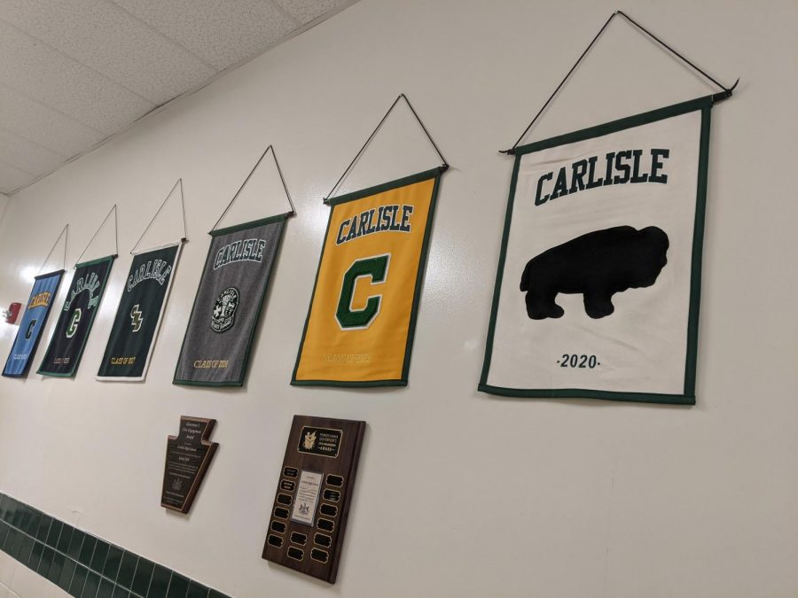 WALL OF HONOR: The class of 2020's banner hangs proudly in the main hallway of McGowan. This tradition was delayed due to school closure last year.