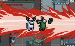 THERES BEEN A MURDER: A crewmate is stabbed to death by the imposter while no other players are around. The goal of the imposter is to kill the other crewmates without being discovered.