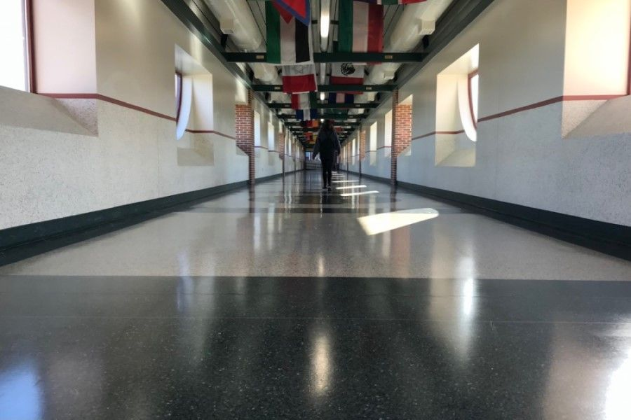 NO MORE HERD IN THE HALLS: Renae Greak walks alone across the Swartz-Fowler bridge. With limited numbers of students at school simultaneously, hallway traffic has been kept to a minimum.