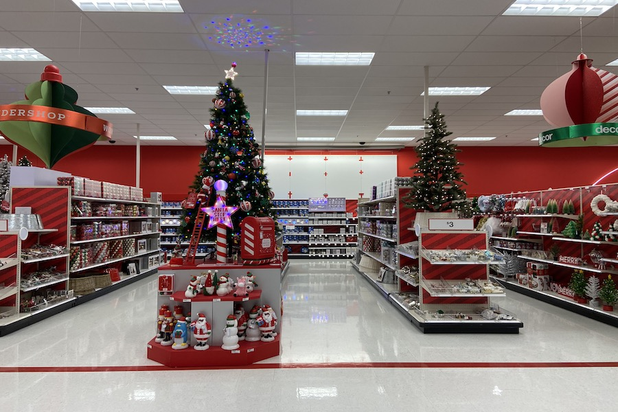 TIME TO CELEBRATE: Target puts out flashy Christmas decorations before Thanksgiving can even commence. In many stores, commercial Christmas decorations were put out before the end of October, forcing a jump into the Christmas season.